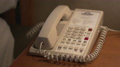 Hotel/Motel Room Phone Pickup, Answer and Hang Up. Stock Footage