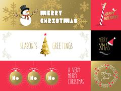 Stock Illustration of Merry christmas banner label set gold red holiday
