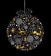 Merry christmas new year ornament ball gold deer Stock Illustration