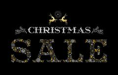 Stock Illustration of Christmas sale gold deer holiday elements shop