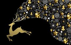 Stock Illustration of Christmas new year reindeer gold low poly holiday