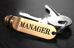 Manager - Bunch of Keys with Text on Golden Keychain Stock Illustration