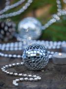 Christmas Mirror balls on wooden background Stock Photos