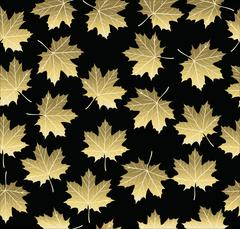 Stock Illustration of Gold maple fall tree leaf seamless pattern