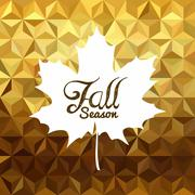 Fall season gold low poly background maple leaf Stock Illustration