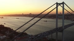 Aerial shot Istanbul Bosphorus Bridge Stock Footage