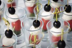 Mozzarella olive tomato canape Stock Photos