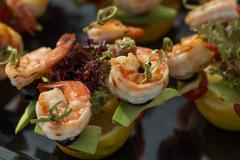 Shrimp canape starter Stock Photos