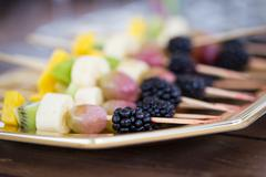 Fruits on a toothpick Stock Photos