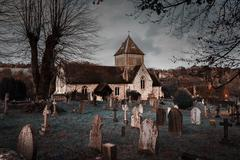 Stock Photo of Puttenham St John the Baptist church Helloween style in England UK