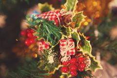 mistletoe on a Christmas tree - stock photo
