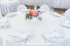 Served white wedding table layout Stock Photos