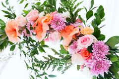 Fresh aroma wedding flower arc - stock photo