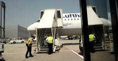 Airbus A321-131 boarding and police Stock Footage