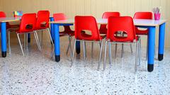Nursery classroom with the  school desks and chairs Stock Photos