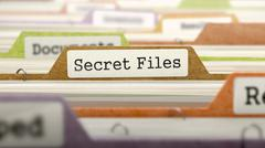 Folder in Catalog Marked as Secret Files - stock illustration