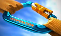 Cooperation on Blue Carabiner between Orange Ropes - stock illustration