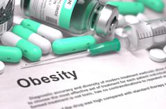 Diagnosis - Obesity. Medical Concept with Blurred Background - stock illustration