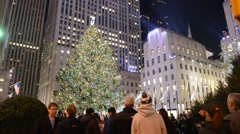 The Christmas Tree at Rockefeller Center, Manhattan, New York Stock Footage