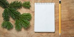 Pencil and Notepad on old rustic table decorated with a fir branch. - stock photo