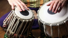 Man playing on Indian tabla drums Stock Footage