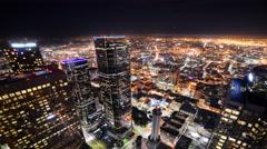 Time Lapse of Downtown LA Night City Lights -Tilt Down- - stock footage