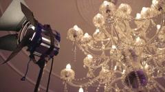 Movie Set BTS | Barndoor Lighting with Chandelier | Low Angle Slider Stock Footage