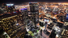 Time Lapse of Downtown LA Night City Lights -Pan Right- - stock footage