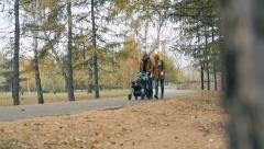 Stock Video Footage of Autumn Family Stroll