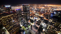 Time Lapse of Downtown LA Night City Lights -Zoom In- - stock footage