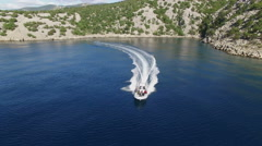 Aerial shot of navigating speed boat in the sea at full speed Arkistovideo