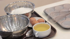 Ingredients Bbefore Cooking Cupcakes. Dough. Stock Footage
