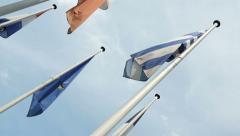 European flags seen from below - stock footage