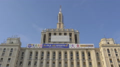 Low angle view of The House of Free Press building in Bucharest Stock Footage