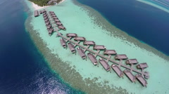 Luxurious over-water villas on tropical island resort, Maldives. Stock Footage