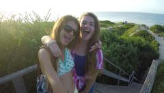 Teenage Girls Pose/Make Funny Faces For Beach Vacation Gopro Footage Stock Footage
