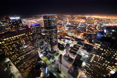 6K Time Lapse of Downtown LA Night City Lights - stock footage