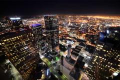 6K Time Lapse of Downtown LA Night City Lights Stock Footage