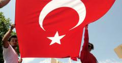 Turkish diaspora with Turkish flag Stock Footage