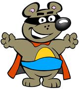 Vector illustration of an Happy Strong Super Hero Bear - stock illustration