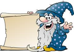 Vector Cartoon illustration of a Happy Old Wizard Magic Man holding a Roll of Piirros