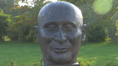 Jean Monnet at the Monument of the Founding Fathers of the EU in Bucharest Stock Footage