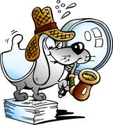 Vector illustration of a Paper Dog Detective Mascot Stock Illustration