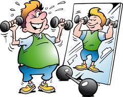 Vector Cartoon illustration of a Fat Motion Man making Fitness - stock illustration