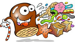 Vector Cartoon illustration of a Cream Puff holding a cone with a choice of d - stock illustration