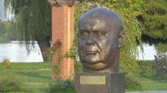 Paul-Henri Spaak bust statue in Herăstrău Park, Bucharest Stock Footage