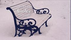 Bench and snow, merry Christmas and happy new year. - stock footage