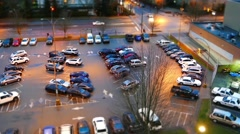 Top shot of parking lot with miniature effect Stock Footage