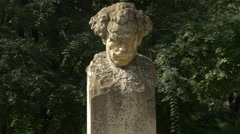 Bust staute of Barbu Delavrancea in Bucharest Stock Footage