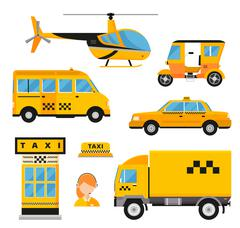 Different types of taxi transport. Cars, helicopter, van truck, bike and Piirros